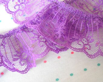 "Purple Lace Ruffle Trim, 2"" Wide"