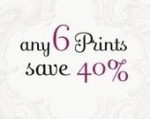 Custom Print Set - Choose Six Photographs and Save 40%, Fine Art Photographs, Home Decor, Large Wall Art