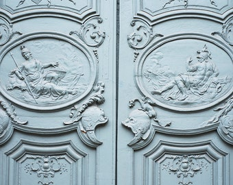 Paris Door Photography - Blue Door, Detail, French Home Decor, Large Wall Art