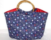 blue pink and purple flowers small bamboo handle bag