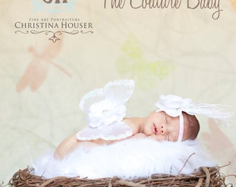 White Clouds Sequin Vintage Flower Feather Headband Beautiful Photo Prop Baptism Christening