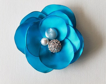 Handmade Electric Blue Satin Camellia Flower with Rhinestones. Acrylic Button and Pearl Brooch and Hair Pin ( Made to Order)