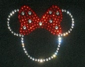 """Small 2.5"""" clear/red Minnie Mouse iron on rhinestone Tiny transfer for Disney t shirt or costume"""