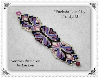 BP-BR-169-2017-048 - Fuchsia Lace - Brick Stitch Bracelet Pattern - Beadwork Pattern, seed bead jewelry,beadweaving tutorial,beaded bracelet