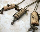 Genuine Upcycled Wine Cork Necklace-Antiqued Brass Finish - TagsandTiles