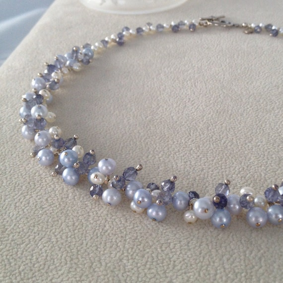 Freshwater Pearls Iolite Necklace in Sterling Silver