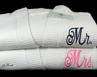 Mr and Mrs Robes, His and Hers, Monogrammed Robes, Cotton Anniversary Gift, Set of 2 Robes, 1516