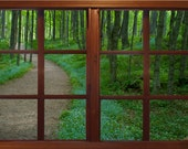 Wall mural window, self adhesive, path thru the woods window view- 3 sizes available - free US shipping