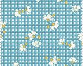KIMBERLEY'S GARDEN,  Fresh Water Designs, 30's Reproduction, Floral Grid in Teal, FWDKIG04-TEA, 1/2 Yard