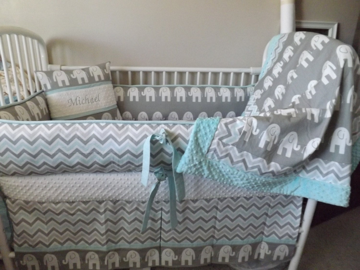 Baby bedding Crib set Gray and Aqua Baby bedding Crib set