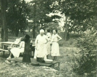 Grandmother Cooking on Outdoor Wood Stove Summer Picnic 1920s Vintage Photo Black and White  Photograph