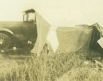 Christmas 1929 Car Camp Tent Made of Blankets Near Newcastle Vintage  Black and White Photograph