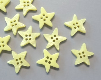 Lot of 50 Star Buttons 15mm B171