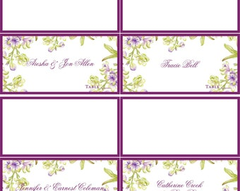 Custom Wedding Orchid Placecards for Garden and Destination Weddings