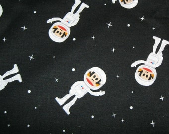 1 Yard of Cotton Fabric Black Background Monkeys in Space