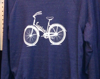 "Venice Bike Raglan Slouchy ""Sweatshirt"" American Apparel Tri-Blend Indigo Blue  S    M or L"