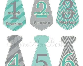 PERSONALIZED Baby Boy Monthly Milestone Stickers Month Photo Prop Bodysuit Baby Sticker Gift Stripes Chevron TIE