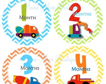 FREE GIFT, Baby Boy Month Stickers, Monthly Baby Stickers,  Milestone Bodysuit Stickers, Construction Stickers, Trucks, Chevron
