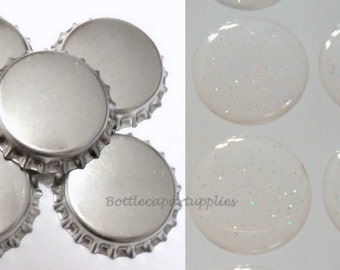 "100 pcs  SILVER  Linerless Bottle Caps and 100 pcs. 1"" GLITTER Epoxy Resin Bottle Cap Seal Sticker Kit."