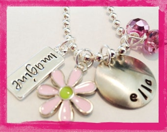 Hand Stamped IMAGINE  Personalized Charm Necklace for Children
