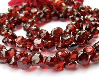 AAA Red Garnet Briolettes, Faceted Onion Candy Kiss Beads, 4-5mm (8k42)