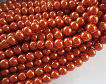 50 Orange glass beads 10mm round bright harvest autumn orange b79
