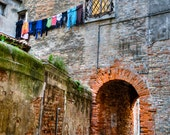 Hanging Laundry Photo, Italy Photography Venice Photograph Architecture Venetian Arch Shabby Chic ven21