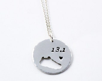 Customized Round Running Necklace with running shoe silhouette