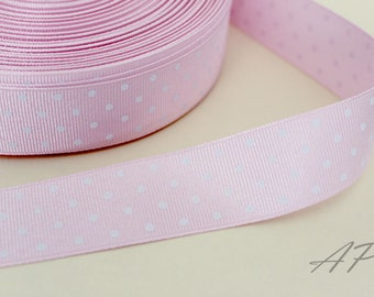 5 Yards of 1 inch (25mm) White Polka Dot in Light Pink Grosgrain Ribbon for Jewelry, Accessories, Clothing