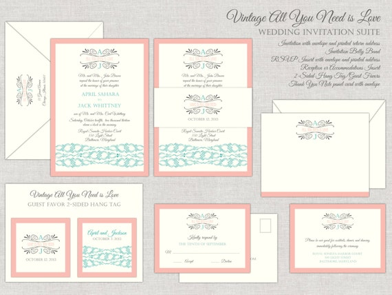 All You Need Is Love Wedding Invitations: Vintage Glamour Wedding Invitation Suite In Peach Vintage