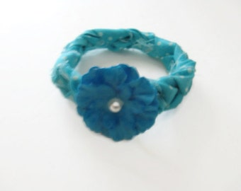 Braided Fabric Bracelet Blue Flower