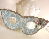 Light Blue Pearl White and Silver Damask Masquerade Mask with Jewel Cluster