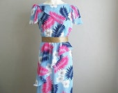 80s ruffled TROPICAL print peplum dress size medium