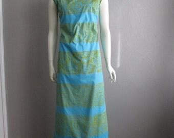 60s mod TIKI print maxi dress size large