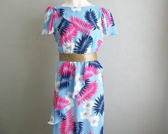 80s ruffled TROPICAL print peplum dress size medium