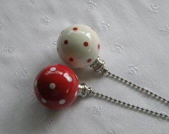 Set of Pottery Ball Ceiling Fan/Light  Pulls - True Red and White Polka Dotted - Made in the USA