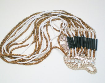 Vintage Necklace Choker Collar 12 Strands 100s of Glass Beads Copper White Black Classy Waterfall Seed  Aurora Borealis Bugles Retro 1990