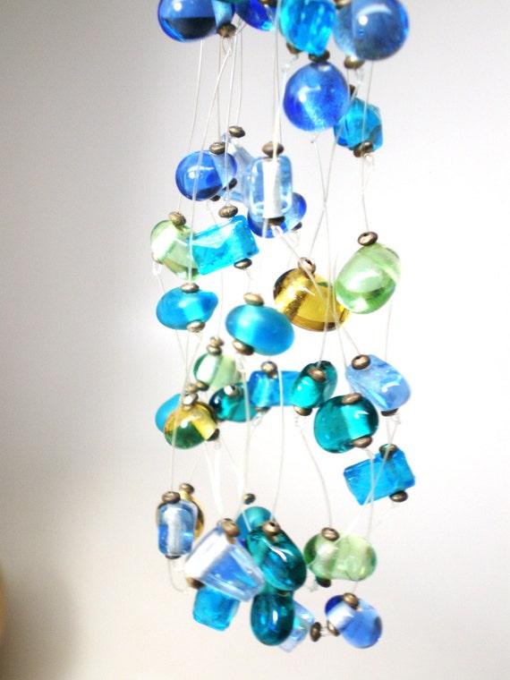 Vintage Necklace / Choker / Collar 6 Strands Floating  Handmade Glass Beads Ocean Blue Lime Green Amber Aqua Retro Art Deco 1990s  Statement