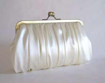 Bridal Ivory Silk Charmeuse Ruched Clutch,Bridal Accessories,Wedding Accessories,Bags And Purses,Clutch Purse