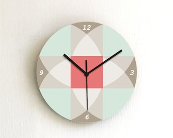 Aqua Retro Pastel geometric modern Kitchen living room bedroom handmade graphic design wall clock