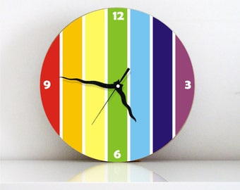 Rainbow Wall clock colorful stripes kitchen clock kids decor large round wall clock