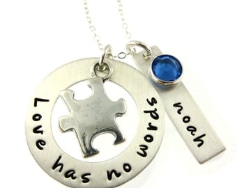 Autism Awareness - Love has No Words... Personalized Sterling Silver Necklace with Name and Birthstone