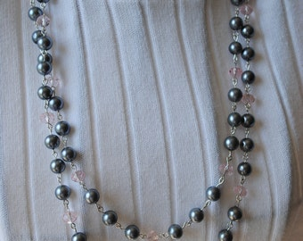 Shades of pink and grey necklace