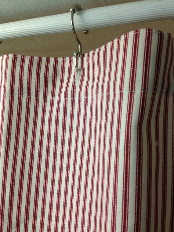 Classic ticking stripe fabric Shower curtain red by