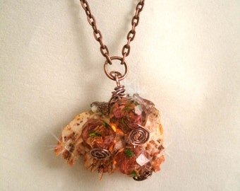 Barite Stone with Tiny Crystals and Faceted Lampwork glass  beads Necklace