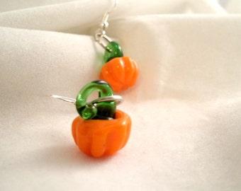 Lampwork  Glass Pumpkin Autumn Sterling Silver Earrings