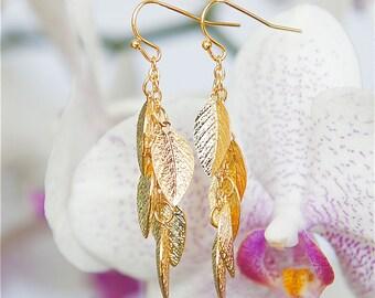 Golden Leaf Earrings, Long earrings, Vine earrings, Leaf jewelry, Gold earrings, Modern jewelry, Greek jewelry, Dangle earring