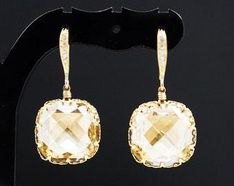 Wedding Jewelry Bridesmaid gifts Bridal Earrings Bridesmaid Earrings Dangle Earrings Golden Shadow Swarovski Crystal Tear drop Earrings