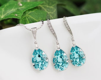 Wedding Jewelry Bridesmaid Gifts Bridesmaid Earrings Bridesmaid Necklace Light Turquoise Swarovski Crystal Tear drops Bridal Jewelry set
