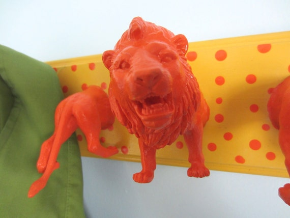 Upcycled Toy Wall Peg Rack with Lion Polka Dot Clothes Hooks